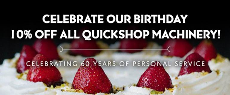 Celebrate 60 Years of Outstanding Customer Service With 10% Off Machinery in Our QuickShop